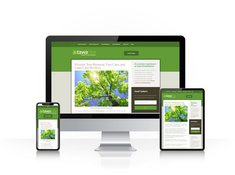 Tawa Tree & Lawn Care responsive website screenshot - large